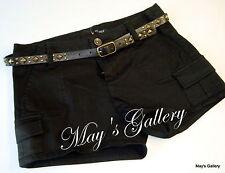 GUESS Jeans Belt  Mini  Shorts Short Pant  Pants Cargo Black   NWT Sz 25