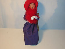 Byers Choice 2004 Red Hat Woman Having Tea on Wooden Chair