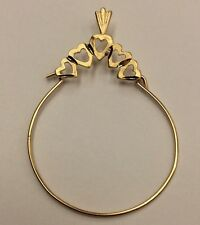 ****14K REAL YELLOW GOLD**** Small Hearts Charm Holder PENDANT 0.9g