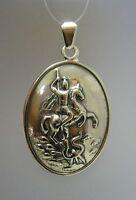Echte Sterling Silber Anhänger Sankt Georg solide punziert 925 handgefertigt