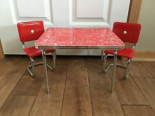 "RETIRED American Girl Molly Retro 18"" Doll Red Chrome Table Chairs Set EUC"