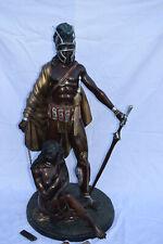 Großer Bronze-Gladiator mit Sklavin an Kette, Frankreich,mehrfarb.Antikpat.,86cm