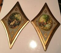 Vintage Florentine Gold Gilt Wood Plaques Set 2 Mid Century Italy Diamond Shaped