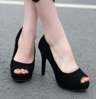 Women Peep Toe High Heels Stilettos Platform Pumps Cocktail Party Sexy Club Shoe