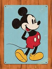 TIN SIGN Walt Disney Mickey Party Worn Blue Background Cartoon Movie Art Poster