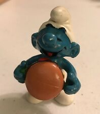 1983 Smurf With Hamburger Figure Peyo Schleich PVC