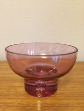 M&S GLASS RUBY COLOURED ETCHED BOWL / VASE