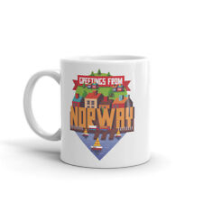 Greetings from Norway Mug - Travel Gift Oslo Bergen Lofoten Geiranger #10429