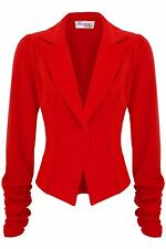 Ladies Celeb Ruched Sleeve 6 Button Tailored Fitted Smart Office Jacket Blazer