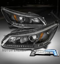 For 13-15 Honda Accord Sedan 4DR Black Projector Headlights Lamps w/Blue LED DRL