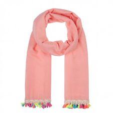 Codello Damen Schal mit bunten Troddeln 71043809 Pink  85X180cm Polyester