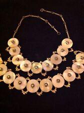 Vintage Estate Mother Of Pearl Rhinestone Necklace Bracelet Set