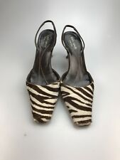 e43146b49b1 Kate Spade Calf Hair Zebra Print Sling Back Pointy Toe Pump Brown 6.5 B