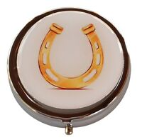 Golden Lucky Horseshoe Round Silver Three Compartment Pocket/Travel Pill Case