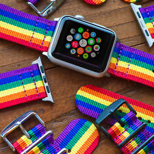 Pride Rainbow - 2 Piece Classic SS Nylon Watch Band for 42mm Apple Watch