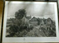 OLD SIGNED ENGRAVING OF A VILLAGE WITH a BOY AND a GIRL