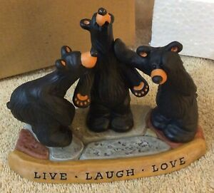 bearfoots bears jeff fleming big sky LIVE LAUGH LOVE Brand New In Box