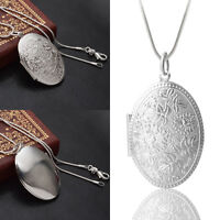 Delicate Women Silver Plated Floral Locket Pendant With Snake Chain Necklace Hot