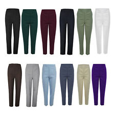 New Ladies Womens Trousers Work Half Elasticated Stretch Waist Pull Up Pants