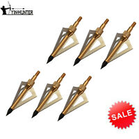 12Pk Hunting 3 Blades Gold Broadheads 100 Grain For Crossbow & Compound Bow