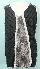 Maurices Woman's Top Blouse Shirt Sleeveless Large Pink Black Lace Ruffles