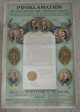 1904 St. Louis World's Fair Promotional/Proclaimation Poster in German 1903