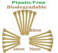 Golf Tees Tee Bamboo WOOD (Wooden) BIODEGRADABLE 54 70 or 83mm PLASTIC FREE