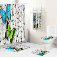 Butterflies Bathroom Rug Set Shower Curtain Bath Towel Bath Mat Toilet Lid Cover