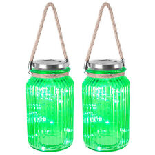 Set of 2 Solar Glass Lantern With Rope Handle 20 LED Lamp Garden Lighting Green