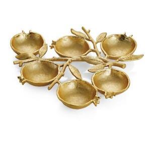 Michael Aram Pomegranate Gold Metal 6-Compartment Plate