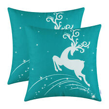 "2Pcs Teal Cushion Cover Pillow Shells Christmas Holiday Reindeer Home Car 20x20"""