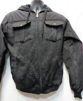 Black ORIGINAL DELUXE vintage retro 00s 90s Men's Zipper Jacket Hood Fur pockets