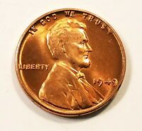 1949-P Lincoln Wheat Cent Penny Gorgeos Red B U CH GEM Nice Luster From OBW Roll