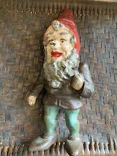 Super Rare Antique Cast Iron Gnome Doorstop Hubley Fabulous Art Statue