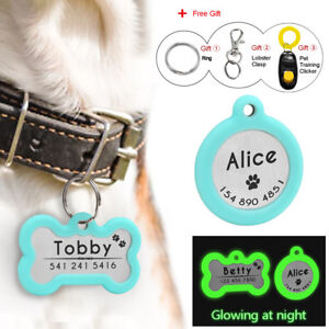 Dog Tags Personalized Glow Cat Pet Tag Silencer Bone/Round Name ID Collar Tag