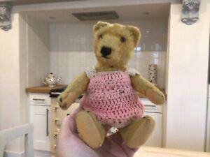Antique vintage Steiff miniature 8in bear,gold mohair toy teddy bear,1950s,