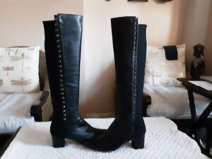 Stuart Weitzman Women's Studded Knee High Black Leather 50/50 Pull on Boots-9.5M