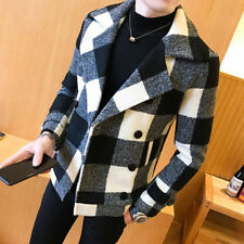 Men's Winter Woolen Double-breasted Slim Fit Plaid Thickening Lapel Trench Coat