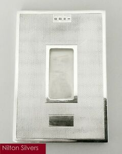 Contemporary solid silver card holder, Mappin & Webb, B'ham 1995 (102g)