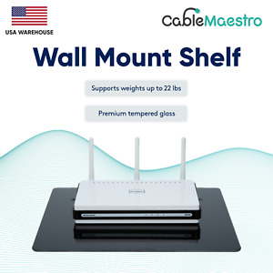 Wall Mount Shelf TV Cable Box Routers Tempered Glass For DVR Media players DVD