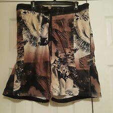 Speedo Men's Swim Trunks w/ Briefs Brown Tan Floral Size XL Tropical