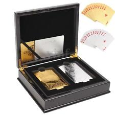 Set Of 2 $100 Gold & Silver Poker Playing Cards Deck Regular With Wooden Box