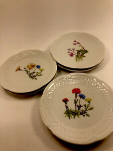 """Philippe Deshoulieres Porcelain Wine & Cheese Canape Plates """"Wildflowers"""" (6)"""
