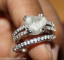 3.89ct Natural Gray/White rough diamond ring, Uncut raw diamond ring, 925 silver