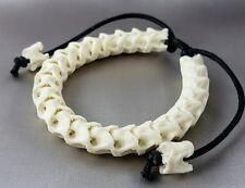 Snake Bone Skeleton adjustable cotton rope bracelet good luck powerful biker - L