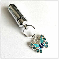 Cremation Jewellery Ashes Urn w Blue Butterfly Keepsake Memorial Necklace
