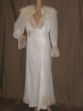 VTG 30's PEIGNOIR set SILK NIGHT GOWN dress ORGANZA & LACE matching DRESS ROBE