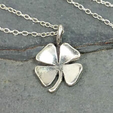 Irish Shamrock Necklace - 925 Sterling Silver - Four Leaf Clover Lucky Charm NEW