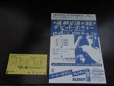 David Bowie 1978 Japan Tour Ticket for Osaka Concert & Flyer Glam Adrien Belew