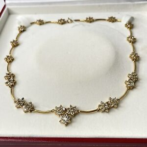18k Gold Sterling Silver  White Topaz Necklace 13c (Y140)